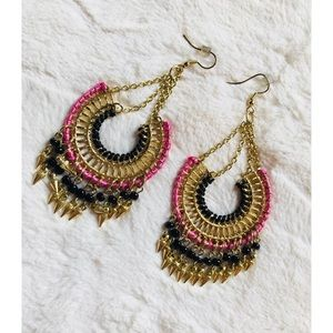 Gold and pink drop earrings